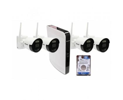 BALTER IP бездротової комплект для відеоспостереження, 8-кан DVR з 500 Гб, 4x 2MP зовнішні акумуляторні WiFI камери з ІК