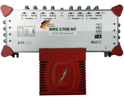 Мультисвіч BMS 1708  NT з вбудованим блоком живлення, для колективного приймання супутникового та ефірного  телебачення.