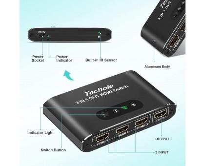 Переключатель HDMI 4k HDMI Splitter-Techole