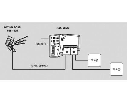 Усилитель Televes ref. 5605 для телевизионной антенні с блоком питания на 12В