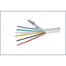 Сигнальный кабель медный 6х0,22 многожильный, экранированный, белый